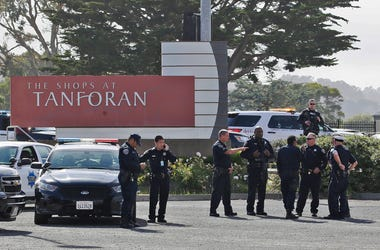 Police investigate at the scene of a shooting at the Tanforan Mall in San Bruno, Calif., Tuesday, July 2, 2019. (AP Photo/Stephanie Mullen)