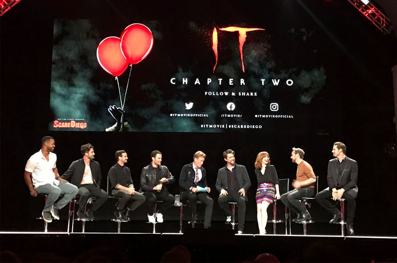 """Casts of """"It: Chapter Two"""" sit at a Comic-Con event Wednesday night, July 17, 2019 at the Spreckels Theater in San Diego, California. (AP Photo/Lindsey D. Bahr)"""