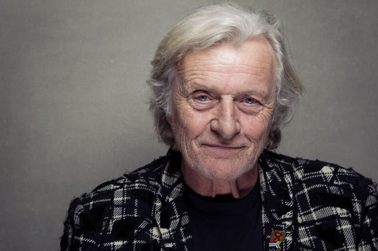"""This Jan. 19, 2013 file photo shows actor Rutger Hauer at the Sundance Film Festival in Park City, Utah. Hauer, who specialized in menacing roles, including a memorable turn as a murderous android in """"Blade Runner"""" opposite Harrison Ford, has died July 19"""