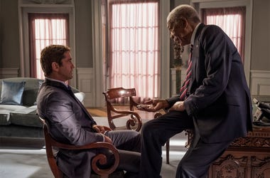 "This image released by Lionsgate shows Gerard Butler, left and Morgan Freeman in ""Angel Has Fallen,"" directed by Ric Roman Waugh. (Jack English/Lionsgate via AP)"