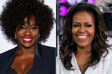 "This combination photo shows actress Viola Davis at the Glamour Women of the Year Awards in New York on Nov. 12, 2018, left, and former first lady Michelle Obama on NBC's ""Today"" show in New York on Oct. 11, 2018.  (Photos by Evan Agostini, left, and Char"