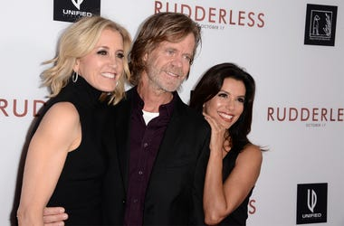 "In this Tuesday, Oct. 7, 2014 file photo,Felicity Huffman, from left, writer/director William H. Macy and Eva Longoria arrive at the Los Angeles VIP screening of ""Rudderless"" at The Vista Theater. (Photo credit: Dan Steinberg/Invision/AP, File)"