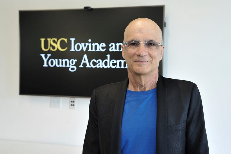 "Jimmy Iovine appears at the unveiling of a high-tech building named after him and business partner Andre ""Dr. Dre"" Young on the University of Southern California campus in Los Angeles on Wednesday, Oct. 2, 2019."