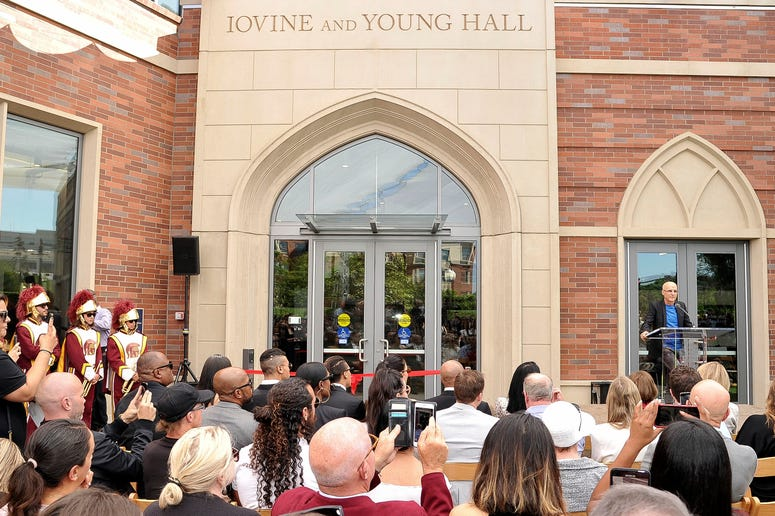 "Business entrepreneur Jimmy Iovine speaks at the unveiling of Iovine and Young Hall, named after and Iovine and his business partner Andre ""Dr. Dre"" Young, on the University of Southern California campus in Los Angeles on Wednesday, Oct. 2, 2019. The duo"