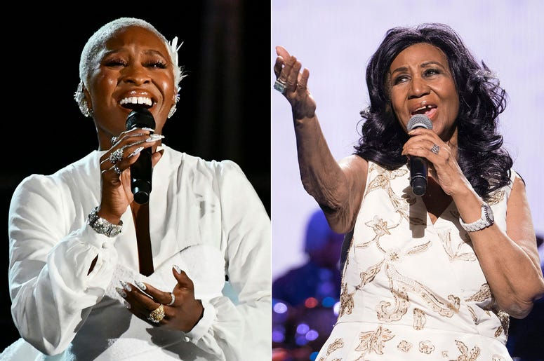 """This combination photo shows Cynthia Erivo performing at the 73rd annual Tony Awards in New York on June 9, 2019, left, and Aretha Franklin performing at the world premiere of """"Clive Davis: The Soundtrack of Our Lives"""" at Radio City Music Hall in New York"""