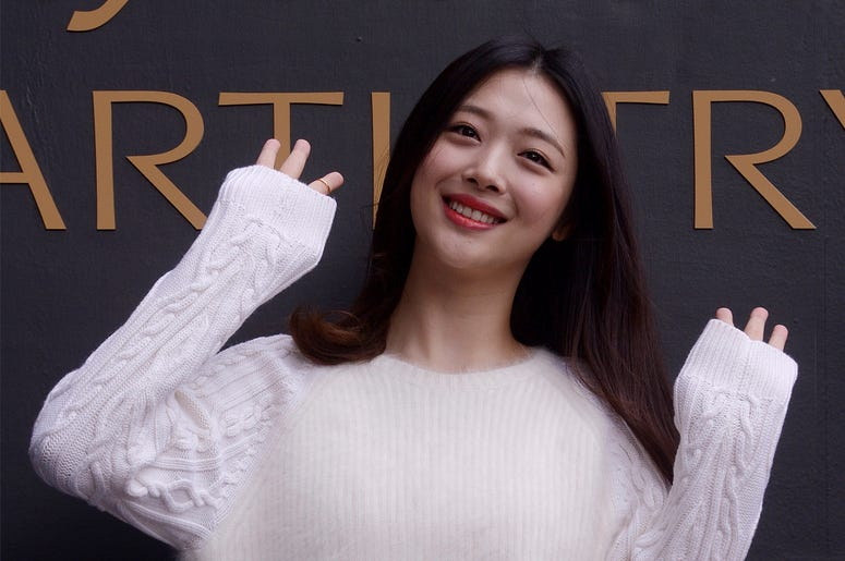 In this Sept. 30, 2015, photo, South Korean pop star and actress Sulli poses during the K-Beauty Close-Up event in Seoul, South Korea.  (Jang Se-young/Newsis via AP)