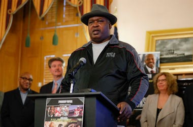 "James ""Buster"" Douglas speaks during a news conference at the Ohio Statehouse to announce the ""42 to 1"" initiative, Wednesday, Oct. 30, 2019, in Columbus, Ohio. Douglas is marking the 30th anniversary of his upset boxing victory over Mike Tyson with a cam"