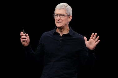 In this June 3, 2019, file photo Apple CEO Tim Cook speaks at the Apple Worldwide Developers Conference in San Jose, California. (AP Photo/Jeff Chiu, File)