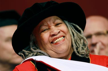 In this May 15, 2011 file photo, Pulitzer and Nobel Prize-winning author Toni Morrison smiles after delivering a speech during the Rutgers University commencement ceremony, in Piscataway, N.J. (AP Photo/Julio Cortez, File)