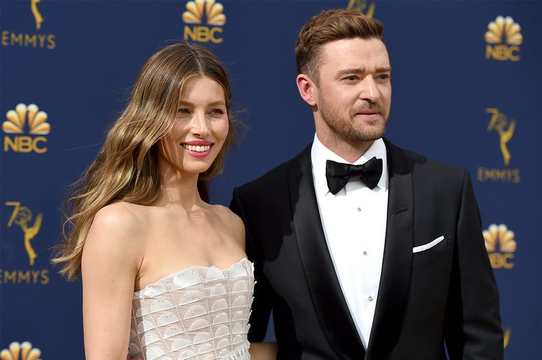 In this Sept. 17, 2018 file photo Jessica Biel, left, and Justin Timberlake arrive at the 70th Primetime Emmy Awards in Los Angeles. (Photo by Jordan Strauss/Invision/AP, File)