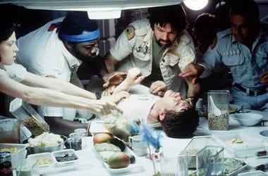 "Sigourney Weaver, Ian Holm, John Hurt, Tom Skerritt, Veronica Cartwright, and Yaphet Kotto in 1979's horror classic ""Alien"" (Photo credit: 20th Century Fox)"