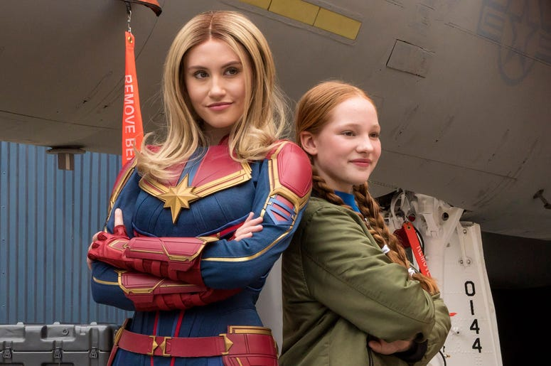 Captain Marvel encounters guests at Hangar 12 in Disney California Adventure Park, inspiring them to go Higher, Further, Faster, as her jet fighter is being readied for a special mission. Disney California Adventure Park is located in Anaheim, Calif. (Jos