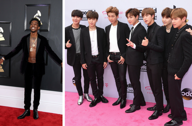Desiigner arrives at the 59th Annual Grammy Awards at Staples Center./ BTS at 2017 Billboard Music Awards held at T-Mobile Arena on May 21, 2017 in Las Vegas, NV, USA