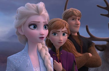 "Elsa, voiced by Idina Menzel, from left, Anna, voiced by Kristen Bell, Kristoff, voiced by Jonathan Groff and Sven in a scene from the animated film, ""Frozen 2."""