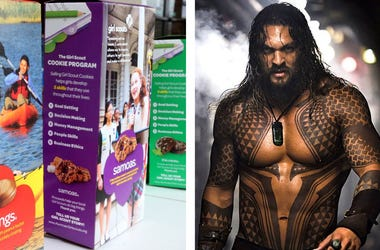 Samoas Girl Scout Cookies & Jason Momoa as 'Aquaman' (Photo credit: Helen Comer/DNJ/Sipa USA/Warner Bros.)