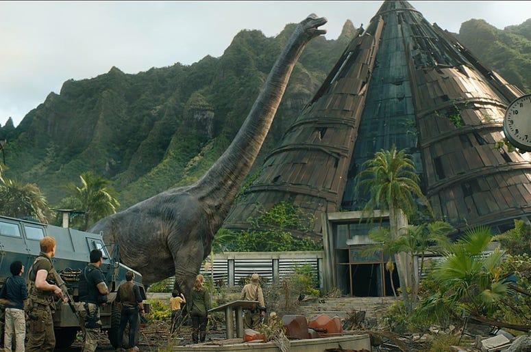 Bryce Dallas Howard, Ted Levine, Chris Pratt, Daniella Pineda, Justice Smith, Sam Bass, Conlan Casal, and Jake Kearney in 'Jurassic World: Fallen Kingdom' (Photo credit: Universal Pictures)