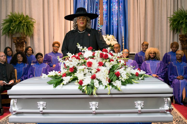 "Tyler Perry starring as Madea in Tyler Perry's ""A Madea Family Funeral (Photo credit: Lionsgate)"