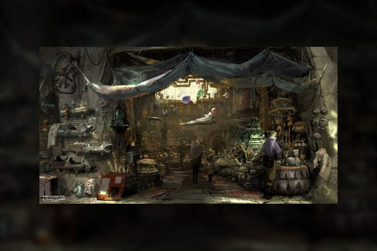 Concept art for the Toydarian's stall on Batuu