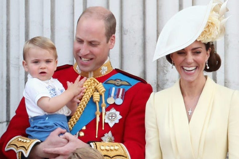 The Duke and Duchess of Cambridge and their son Prince Louis