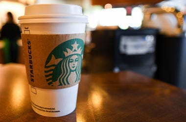 Apr 17, 2018; Houston, TX, USA; View of a cup of coffee at Starbucks. (Photo credit: Shanna Lockwood-USA TODAY Sports)