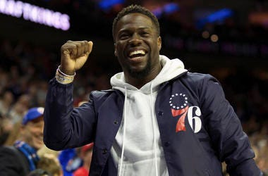 Apr 24, 2018; Philadelphia, PA, USA; Actor Kevin Hart reacts after a Philadelphia 76ers score against the Miami Heat during the fourth quarter in game five of the first round of the 2018 NBA Playoffs at Wells Fargo Center. Mandatory Credit: Bill Streicher