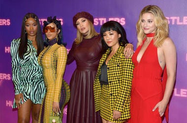 "LOS ANGELES, CALIFORNIA - AUGUST 25: (L-R) Keke Palmer, Cardi B, Jennifer Lopez, Constance Wu, and Lili Reinhart attend STX Entertainment's ""Hustlers"" Photo Call at Four Seasons Los Angeles at Beverly Hills on August 25, 2019 in Los Angeles, California. ("