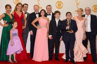 """22 September 2013 - Los Angeles, California - Cast of """"Modern Family"""". 65th Annual Primetime Emmy Awards - Press Room held at Nokia Theatre L.A. Live. Photo Credit: Birdie Thompson/AdMedia/Sipa USA"""