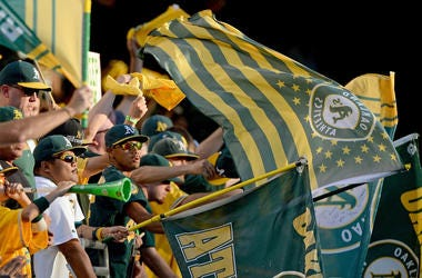 Oakland A's Fans (Photo by Jose Carlos Fajardo/Bay Area News Group/MCT/Sipa USA)