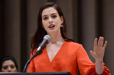 Actress and UN Women Global Goodwill Ambassador Anne Hathaway speaks at the commemoration event for International Women's Day at the United Nations Headquarters in New York on March 8, 2017. (Photo by Anthony Behar)
