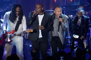 BEVERLY HILLS, CA - FEBRUARY 14: (L-R) Recording artists Verdine White, Philip Bailey, Ralph Johnson and B. David Whitworth of music group Earth, Wind & Fire perform onstage during the 2016 Pre-GRAMMY Gala and Salute to Industry Icons honoring Irving Azof