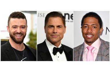 """This combination photo shows, from left, actor-singer Justin Timberlake, actor Rob Lowe and comedian-TV host Nick Cannon who are involved in three game shows debuting on Fox. Timberlake co-created and will executive produce """"Spin the Wheel."""" Lowe will hos"""