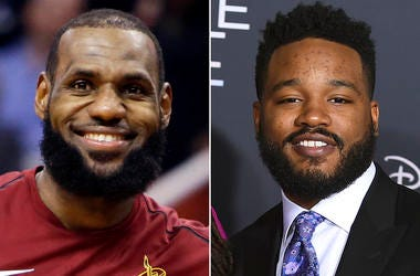 """This combination photo shows Cleveland Cavaliers forward LeBron James during an NBA basketball game against the Phoenix Suns in Phoenix on March 13, 2018, left, and filmmaker Ryan Coogler at the world premiere of """"A Wrinkle in Time"""" in Los Angeles on Feb."""