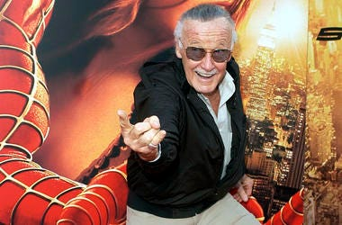 """In this June 22, 2004, file photo, Spiderman creator and """"Spider-Man 2"""" executive producer Stan Lee poses for photographers at the premiere of """"Spider-Man 2"""" in Los Angeles. Comic book genius Lee, the architect of the contemporary comic book, has died. He"""
