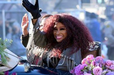 Tournament of Roses Grand Marshal Chaka Khan waves during the 130th Rose Parade in Pasadena, Calif., Tuesday, Jan. 1, 2019. (AP Photo/Michael Owen Baker)
