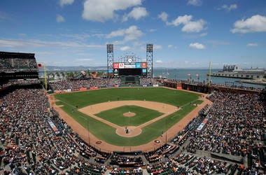 This June 15, 2016, file photo shows AT&T Park from an overhead view as the San Francisco Giants play the Milwaukee Brewers during a baseball game in San Francisco. The Oakland Raiders are in talks with the Giants about playing their home games next seaso