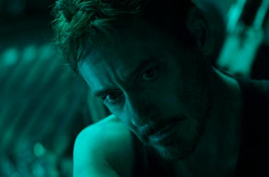 "Robert Downey Jr. in a scene from ""Avengers: Endgame."""