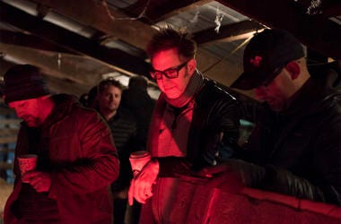 """This image released by Sony Pictures shows producer James Gunn on the set of """"Brightburn."""" (Boris Martin/Sony Pictures via AP)"""