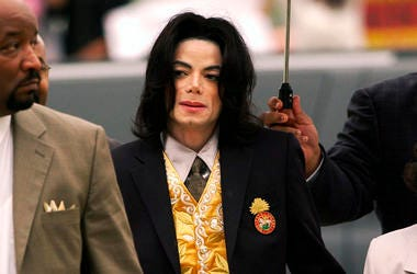In this May 25, 2005 file photo, Michael Jackson arrives at the Santa Barbara County Courthouse for his trial in Santa Maria, California. (Aaron Lambert/Santa Maria Times via AP, Pool)