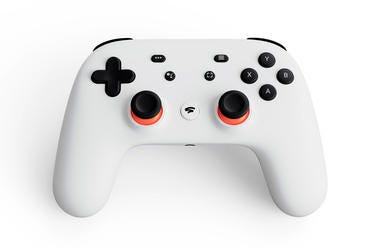 This undated image provided by Google shows the controller for a video-game streaming platform called Stadia. (Google via AP, File)