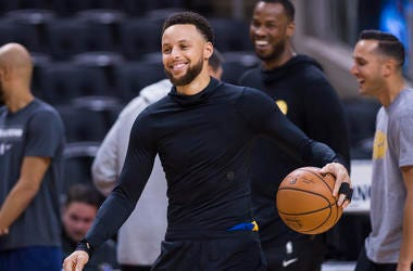 In this May 29, 2019 file photo, Golden State Warriors guard Stephen Curry smiles during practice for the NBA Finals against the Toronto Raptors in Toronto. (Nathan Denette/The Canadian Press via AP, File)