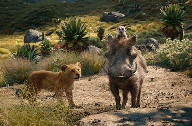 "This file image released by Disney shows, from left, young Simba, voiced by JD McCrary, Timon, voiced by Billy Eichner, and Pumbaa, voiced by Seth Rogen, in a scene from ""The Lion King."" (Photo credit: Disney via AP, File)"