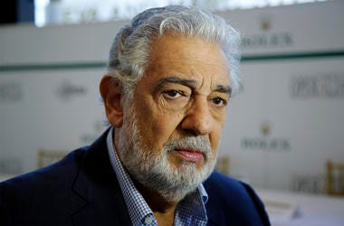 In this Aug. 26, 2014, file photo, Placido Domingo speaks at the Dorothy Chandler Pavilion in Los Angeles. (AP Photo/Damian Dovarganes, File)
