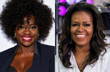 """This combination photo shows actress Viola Davis at the Glamour Women of the Year Awards in New York on Nov. 12, 2018, left, and former first lady Michelle Obama on NBC's """"Today"""" show in New York on Oct. 11, 2018.  (Photos by Evan Agostini, left, and Char"""