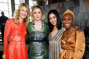 Actors Laura Dern, left, Greta Gerwig, Constance Wu and Cynthia Erivo pose together at the Academy of Motion Picture Arts and Sciences Women's Initiative New York luncheon at the Rainbow Room on Wednesday, Oct. 2, 2019, in New York. (Photo by Evan Agostin