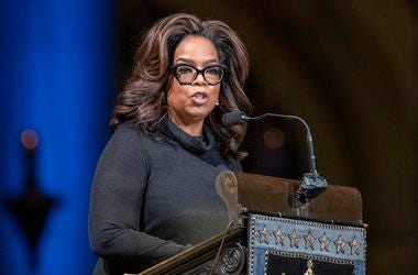 Oprah Winfrey speaks during the Celebration of the Life of Toni Morrison, Thursday, Nov. 21, 2019, at the Cathedral of St. John the Divine in New York. (AP Photo/Mary Altaffer)