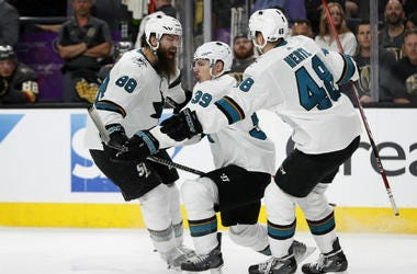 San Jose Sharks' Logan Couture (39) celebrates after scoring the game-winning goal against the Vegas Golden Knights during the second overtime of Game 2 of an NHL hockey second-round playoff series Saturday, April 28, 2018, in Las Vegas.