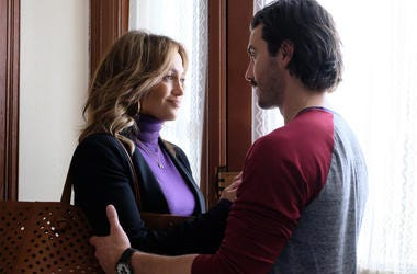 """Jennifer Lopez and Milo Ventimiglia in """"Second Act"""""""
