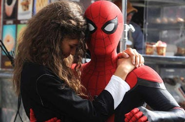 "Zendaya as MJ and Tom Holland as 'Spider-man' in ""Spider-man: Far From Home"" (Photo credit: Sony Pictures)"