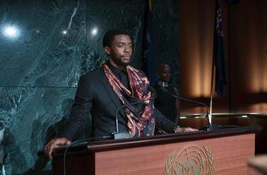 "Chadwick Boseman and Florence Kasumba in ""Black Panther"""