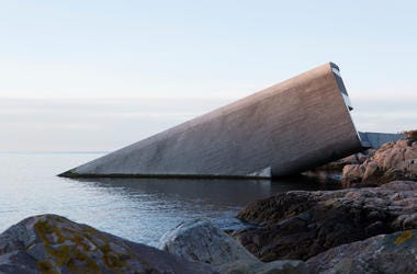 The outside of Under, Europe's first underwater restaurant
